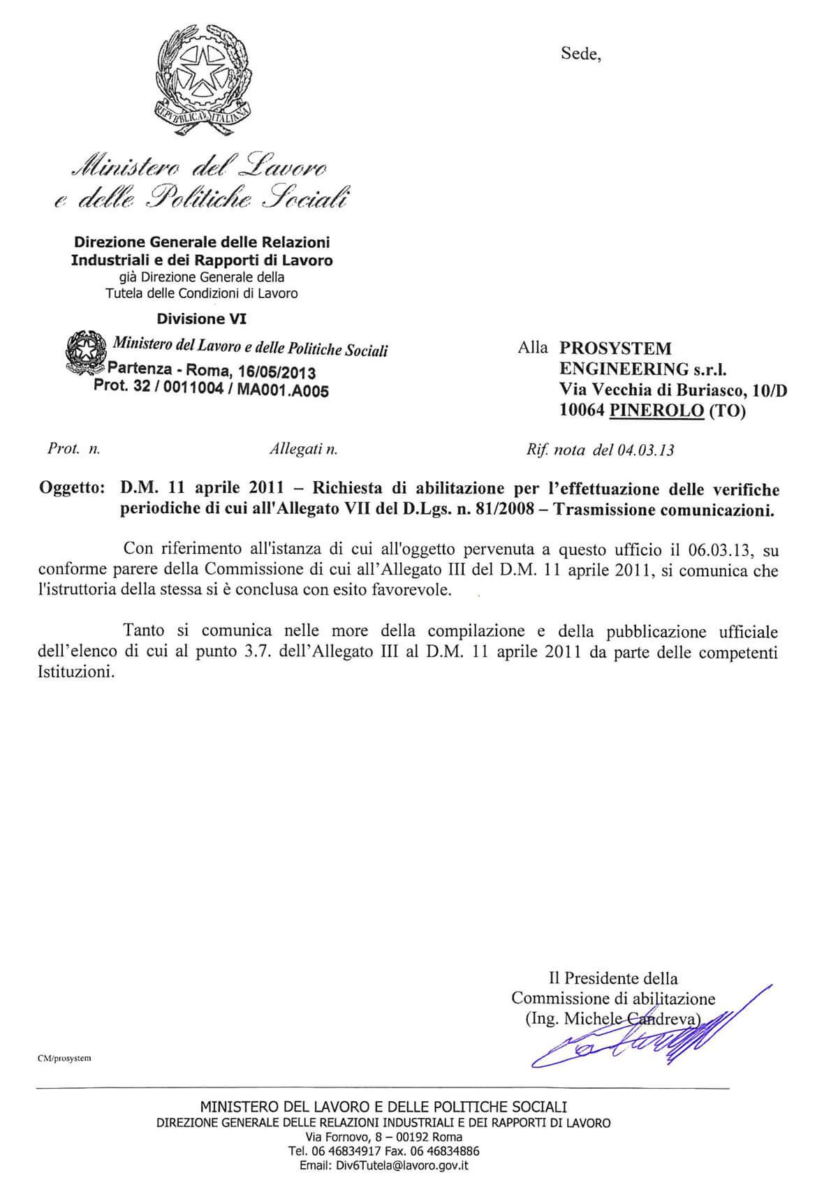 Notifica Ministero verifica periodica impianti di sollevamento